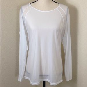 Lululemon Long Sleeve White Sheer Top Open Back